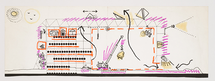 Cedric Price, Section of Fun Palace showing potential use of interior spaces, 1963 Ink, coloured pencil and felt-tip pen on paper, 15.7 × 42 cm DR1995:0188:109 Cedric Price fonds, Canadian Centre for Architecture, Montréal